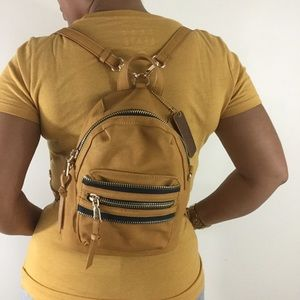 MMS Vegan Leather Backpack Small Mustard
